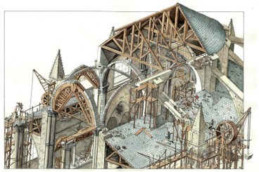 Disegno che raffigura il cantiere di costruzione di una cattedrale gotica